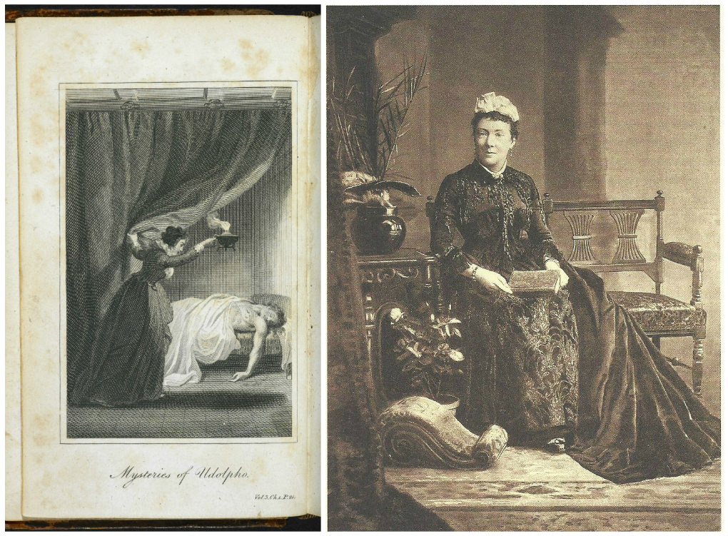 An illustration from the 1794 edition of The Mysteries of Udolpho and a rare portrait of the novel's author.