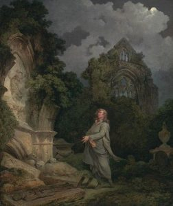 Philippe-Jacques de Loutherbourg, 1740–1812, French, active in Britain (from 1771), A Philosopher in a Moonlit Churchyard, 1790, Oil on canvas, Yale Center for British Art, Paul Mellon