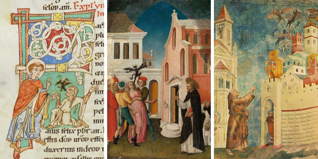 Left: from Passionary of Weissenau (1170-1200); centre: Saint Peter Martyr Exorcising a Woman Possessed by a Devil by Antonio Vivarini (1440-1480); right: Legend of St Francis: Exorcism of the Demons at Arezzo (1297-99) by Giotto di Bondone